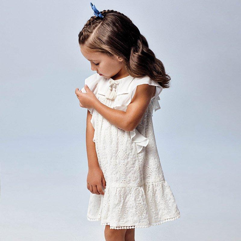 Mayoral Sukienka z gazy haftowana dla dziewczynki 3944 col.42